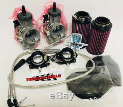 Banshee 28mm 28 mil PWK Complete Dual Flat Slide Carburetor Carb Carbs Kit