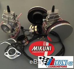 Triumph T140V Carbs, Mikuni TM32 Flatslide Slide carburetor Kit, Pancake Filters